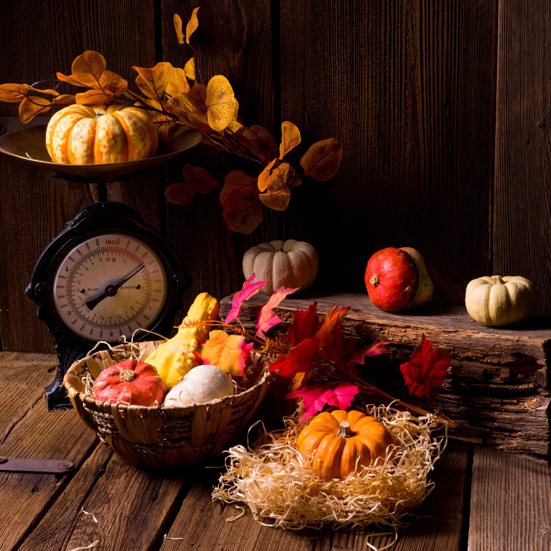 обои осенняя композиция из овощей и фруктов, осенние листья, корзина картинки фото