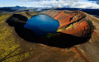 Фото бесплатно кратер, озеро, облака