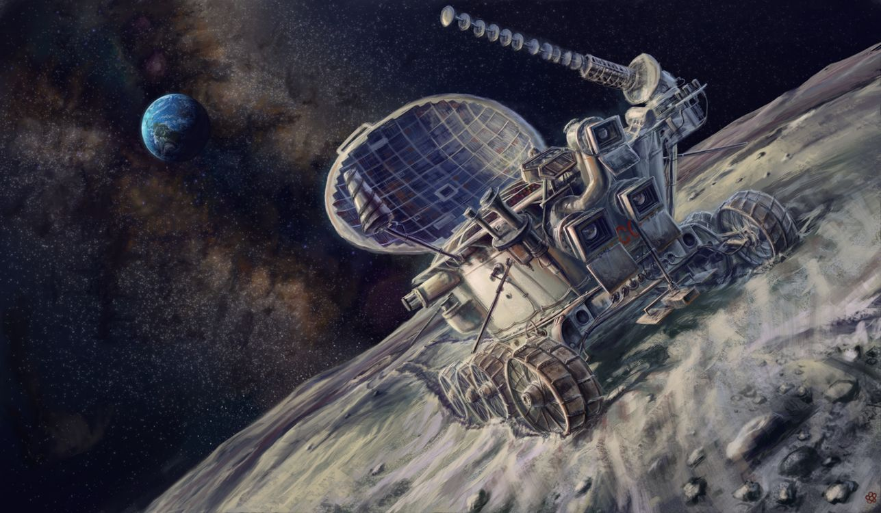 Фото бесплатно Луноход, СССР, луна, Земля, звёзды, наука, техника, космос, рисунок, картина, планета, спутник, космос