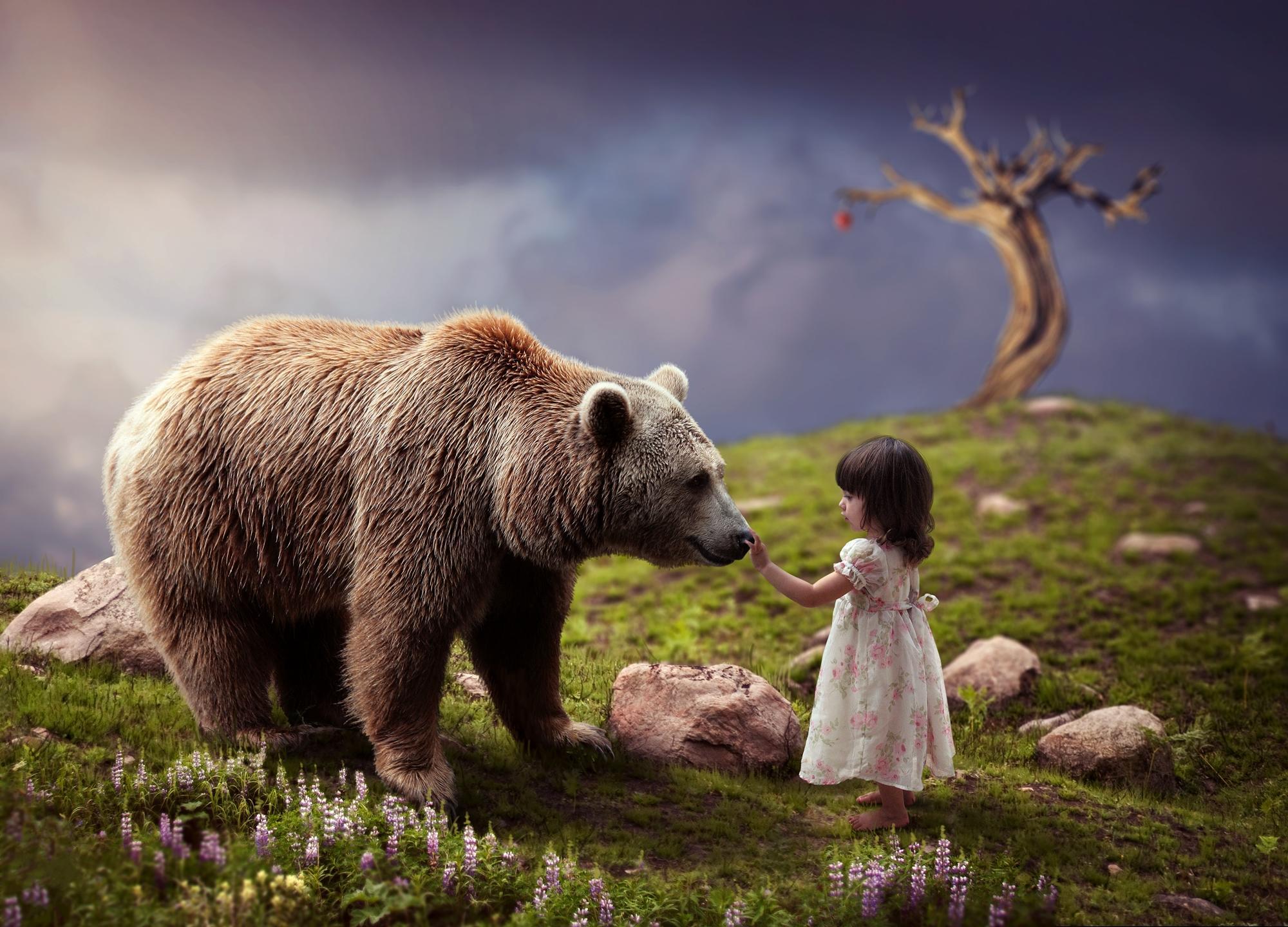 Обои девочка, медведь, фантастика