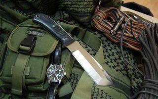 Обои нож, часы, снаряжение, рюкзак, веревка, фонарик