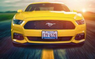 Фото бесплатно Новый Ford Mustang 2015, желтый, трасса