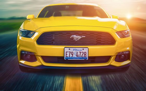 Photo free New 2015 Ford Mustang, yellow, route
