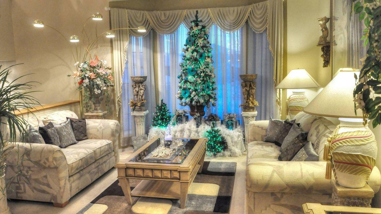 Фото бесплатно новый год, елка, интерьер, интерьер