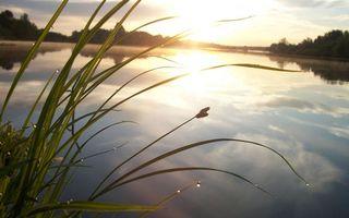 Бесплатные фото озеро,гладь,отражение,небо,облака,солнце,трава