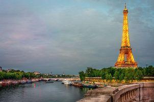 Заставки река Сена,Париж,Франция,дорога,мост,город,эйфелева башня
