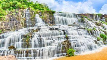 Фото бесплатно водопад, растительность, деревья