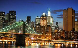 Бесплатные фото вечер, река, мост, подсветка, дома, здания, небоскребы
