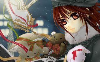 Бесплатные фото девочка,глаза,волосы,берет,пальто,игрушки,зима