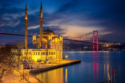 Фото бесплатно Мечеть Ортакёй, Стамбул, ночь
