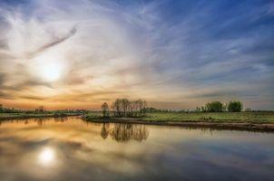 Заставки закат, река, поле