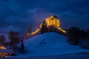 Заставки Замок Вальдбург, Германия, ночь