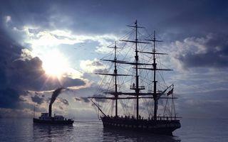 Бесплатные фото море,корабли,буксир,парусник,мачты,экипаж