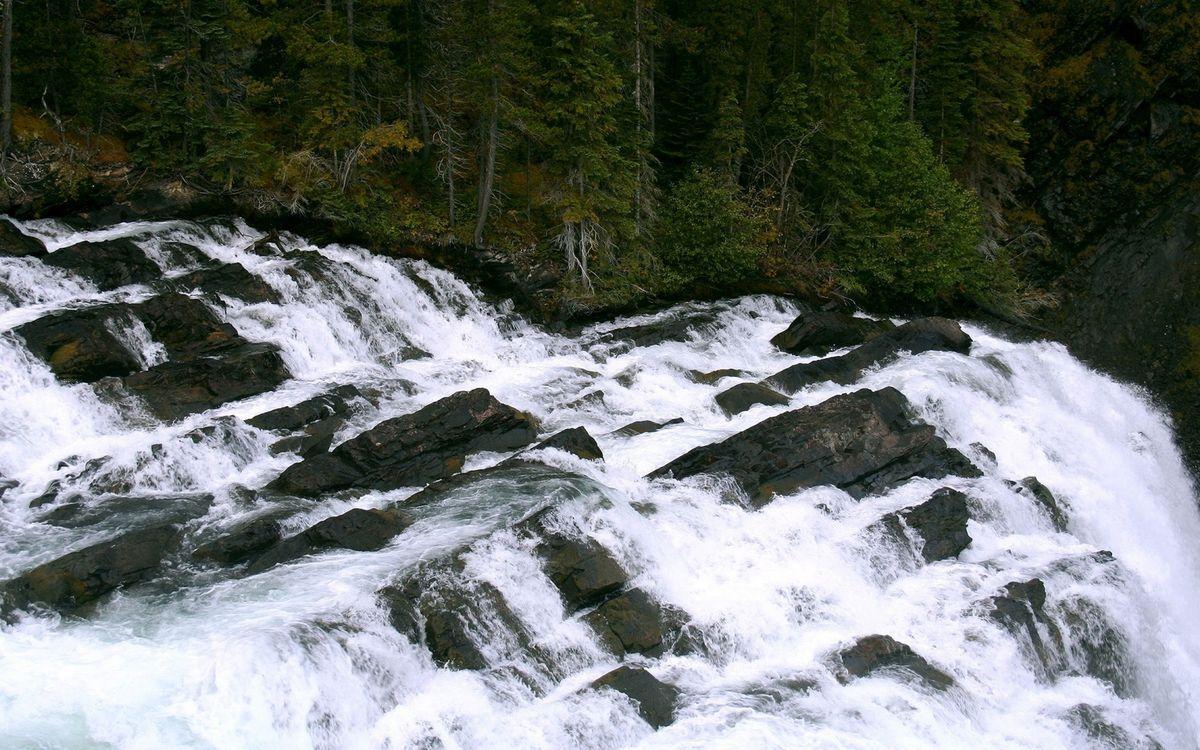 Фото бесплатно река, течение, камни, водопад, брызги, деревья, природа
