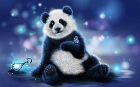 Фото бесплатно панда, бабочка, art