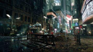 Бесплатные фото cyberpunk city,город будущего,летающая машина,улица,ограждение,лампы,дома