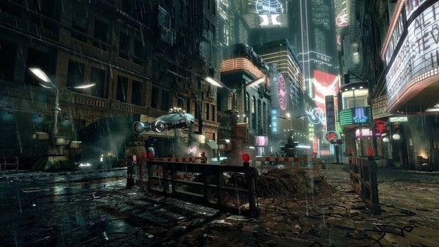 Photo free cyberpunk city, futuristic city flying car, street