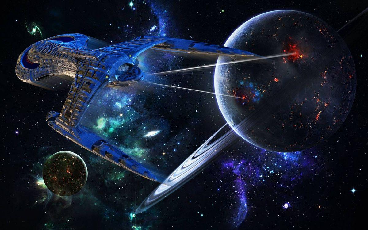 Обои космос, планеты, космический корабль, полет, звезды, свечение картинки на телефон