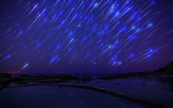 Фото бесплатно метеоритный дождь, небо, метеориты
