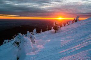 Фото бесплатно зима, снег, холм