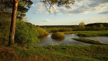 Фото бесплатно река, облака, трава