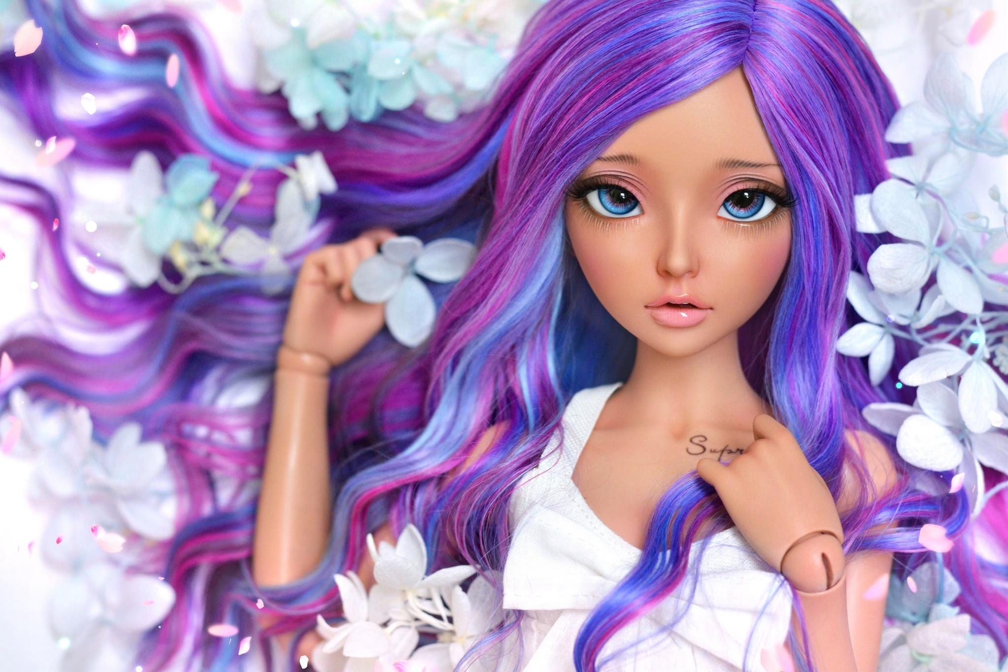Обои волосы, кукла, девушка, цветы