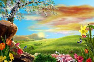 Бесплатные фото поле,холмы,дерево,цветы,art