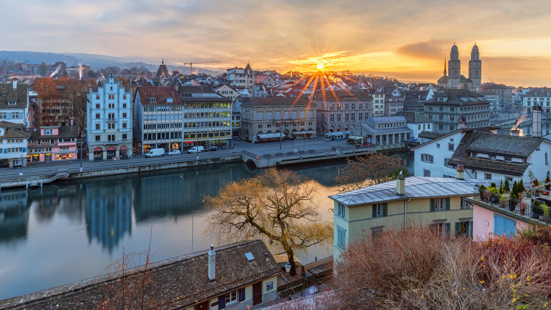 обои Zurich, Цюрих, Швейцария, закат картинки фото