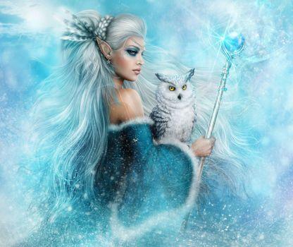Photo free fantasy girl, fairy, owl