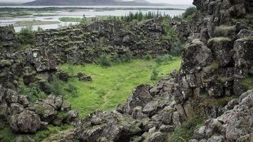 Фото бесплатно камни, скалы, трава, кустарник, деревья, река