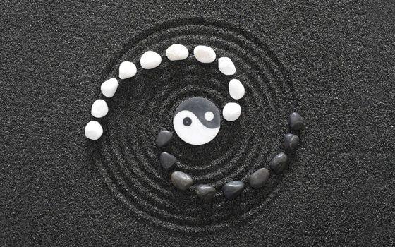 Заставки знак инь янь, камушки, песок