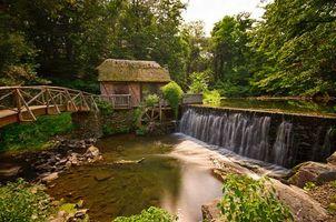Бесплатные фото Gomez Mill House, Marlboro, New York, мельница, река, мост, лес