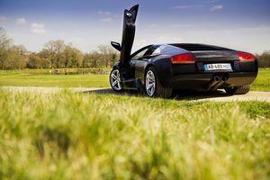 Фото бесплатно черная, Lamborghini, загородная дорога