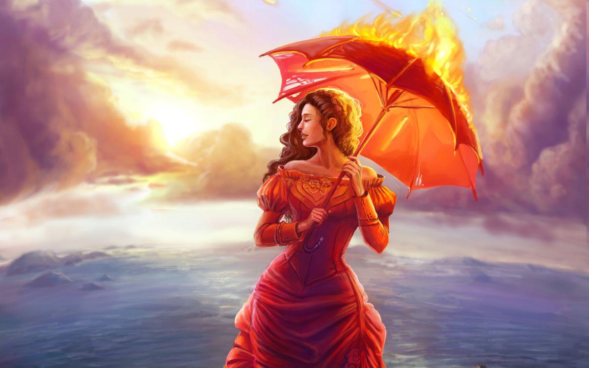 Фото бесплатно девушка с огненным зонтом, рисунок, рендеринг