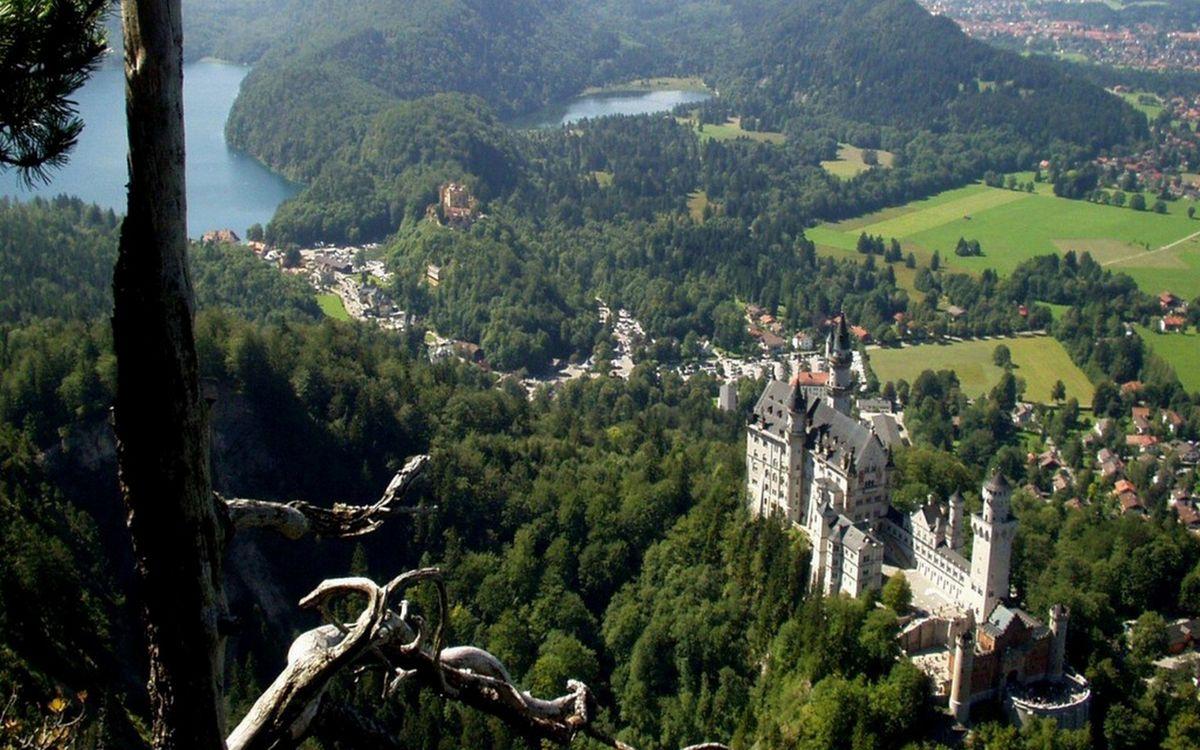 Фото бесплатно горы, деревья, замок - на рабочий стол