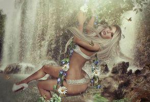 Фото бесплатно девушка, фантастическая девушка, водопад