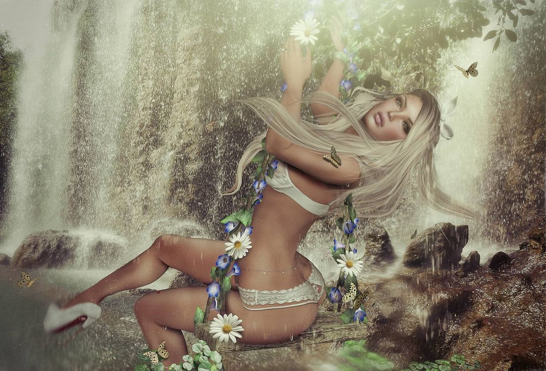 Фото бесплатно девушка, фантастическая девушка, водопад, фантастика, art - на рабочий стол