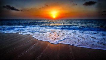 Заставки закат, море, волны, берег, пейзаж