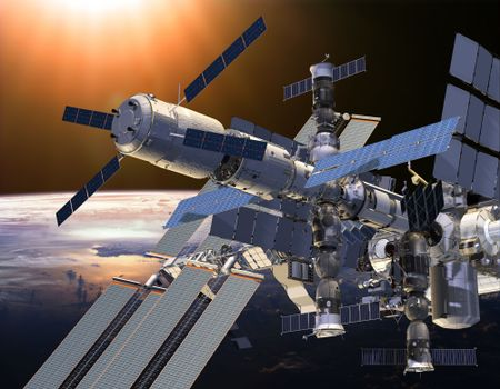 Бесплатные фото МКС,Земля,Солнце,орбита,станция,наука,техника,космос