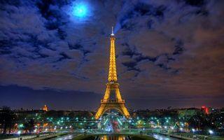 Фото бесплатно Париж, Эйфелева башня, ночь