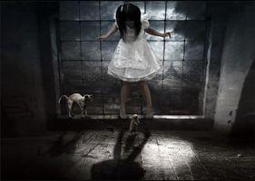 Фото бесплатно сюрреалистично, манипуляция, photomanipulation, Сюрреалистическая реальность, девочка, кошка, крыса, art