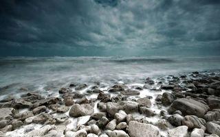 Бесплатные фото берег, камни, море, горизонт, небо, тучи