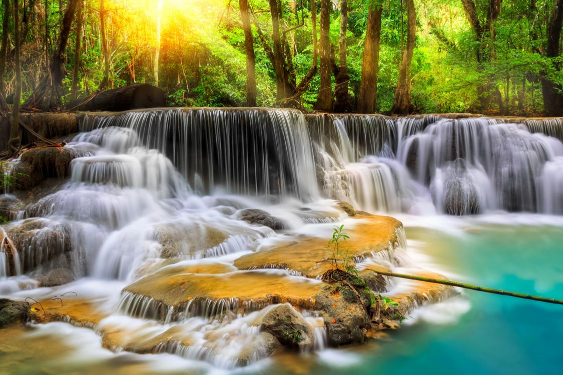 Фото бесплатно Канчанабури, Таиланд, водопад, каскад, джунгли, река, деревья, природа, природа