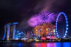 Бесплатные фото Залив Марина Бэй,Сингапур,фестиваль,салют,город,ночь,иллюминация