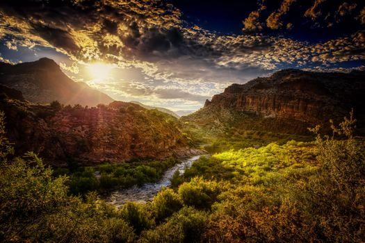 Photo free Salt River Canyon, Arizona sunset, river
