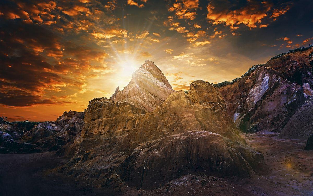 Фото бесплатно закат солнца, гора, лучи - на рабочий стол