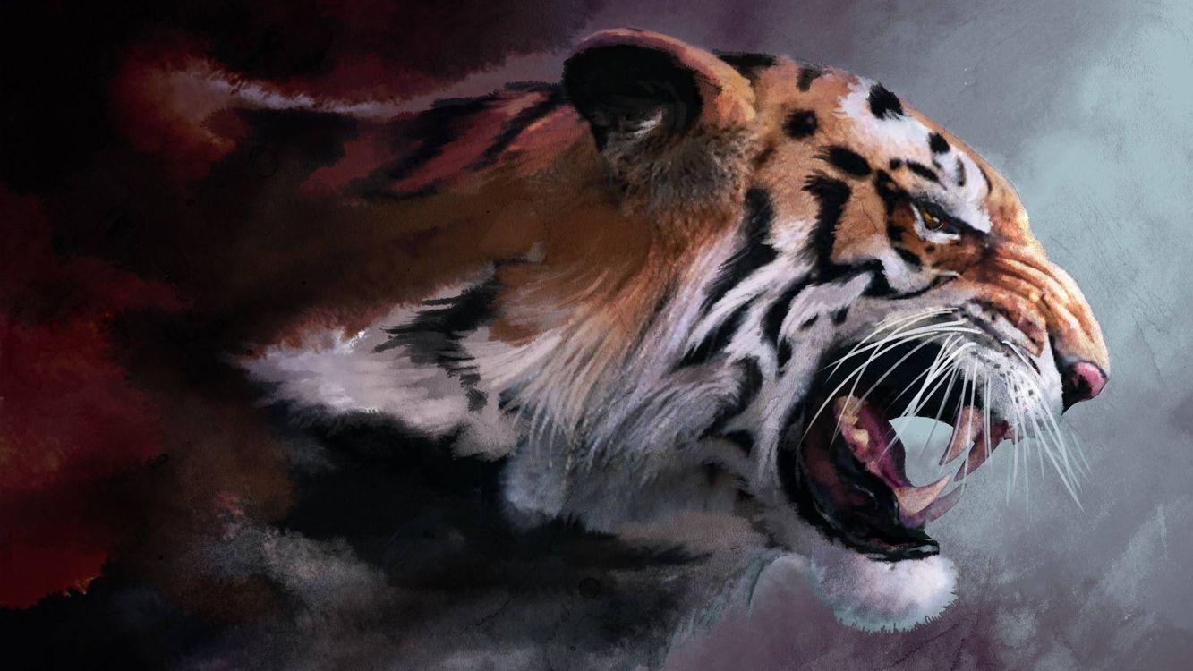 Фото бесплатно тигр, оскал, пасть, клыки, рендеринг