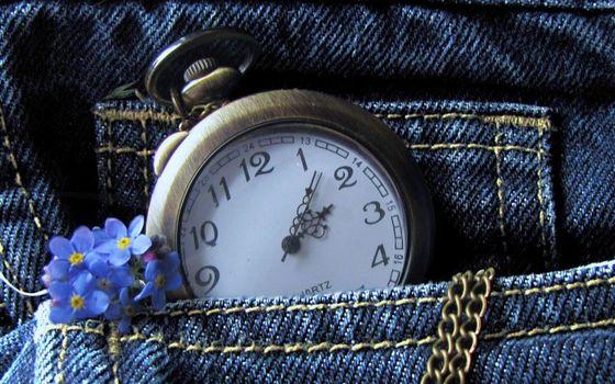 Фото бесплатно джинсы, карман, цветочки
