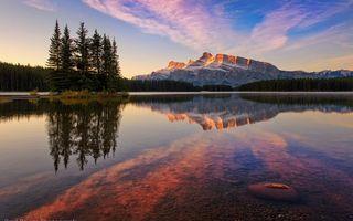 Бесплатные фото гора, озеро, отражение, деревья, вечер
