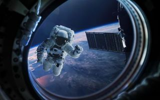 Photo free space, planet, astronaut